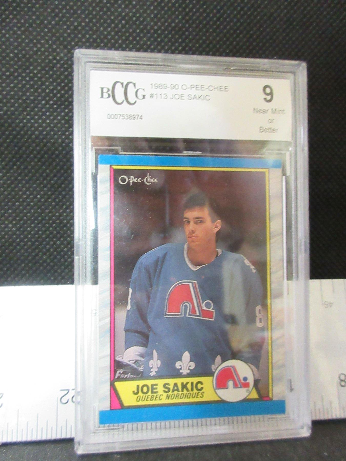 113 1989 90 Joe Sakic Rookie Card Graded 9 Near Mint