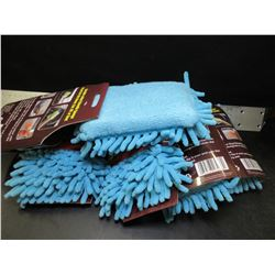 Lot of 5 New Microfiber Chenille Sponge / 90,000 fibers per sq inch / Blue