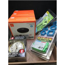 Flat of New Assorted Items / 3 CD Players / Mini glue gun / alarm clock &