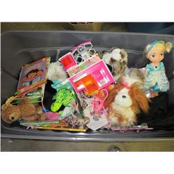 Large 4 foot bin full of Girls toys / books / dolls / stuffed animals & more