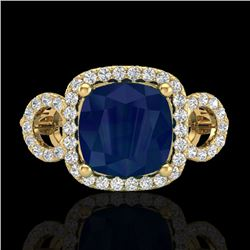 3.15 CTW Sapphire & Micro VS/SI Diamond Ring 18K Yellow Gold - REF-76N9Y - 23011