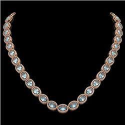 41.88 CTW Aquamarine & Diamond Halo Necklace 10K Rose Gold - REF-722W4F - 40578