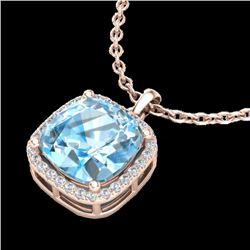 6 CTW Sky Blue Topaz & Pave Halo VS/SI Diamond Necklace 14K Rose Gold - REF-45N3Y - 23089
