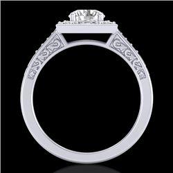 1.1 CTW VS/SI Diamond Art Deco Ring 18K White Gold - REF-227N3Y - 37265