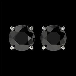 1.61 CTW Fancy Black VS Diamond Solitaire Stud Earrings 10K White Gold - REF-36Y2K - 36612