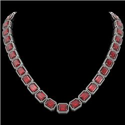 80.32 CTW Tourmaline & Diamond Halo Necklace 10K White Gold - REF-1178K4W - 41492