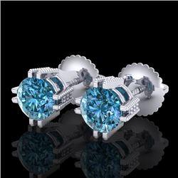 1.07 CTW Fancy Intense Blue Diamond Art Deco Stud Earrings 18K White Gold - REF-143T6M - 37537