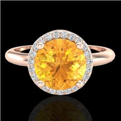 2 CTW Citrine & Micro VS/SI Diamond Ring Designer Halo 14K Rose Gold - REF-44T9M - 23207
