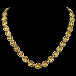 36.8 CTW Fancy Citrine & Diamond Halo Necklace 10K Yellow Gold - REF-604Y2K - 41230