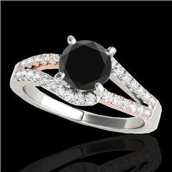 1.65 CTW Certified VS Black Diamond Solitaire Ring 10K White & Rose Gold - REF-74T8M - 35302