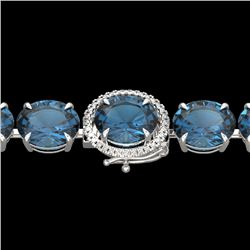 79 CTW London Blue Topaz & Micro VS/SI Diamond Halo Bracelet 14K White Gold - REF-272W2F - 22266