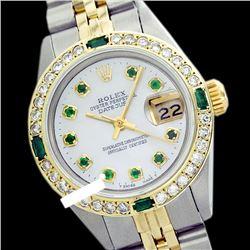 Rolex Ladies Stainless Steel, Diam Dial & Diam/Emerald Bezel, Sapphire Crystal - REF-440T5K