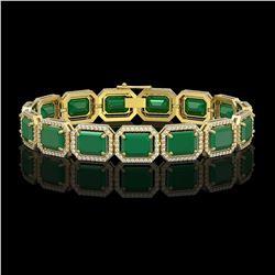 38.61 CTW Emerald & Diamond Halo Bracelet 10K Yellow Gold - REF-456A5X - 41524