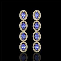 6.09 CTW Tanzanite & Diamond Halo Earrings 10K Yellow Gold - REF-122A2X - 40513