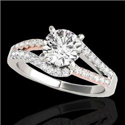 1.65 CTW H-SI/I Certified Diamond Solitaire Ring 10K White & Rose Gold - REF-218A2X - 35301
