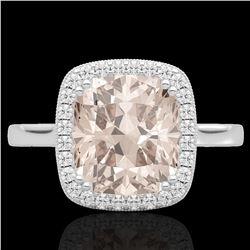 3 CTW Morganite & Micro Pave VS/SI Diamond Halo Solitaire Ring 18K White Gold - REF-72M2H - 22846