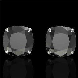 12 CTW Cushion Cut Black VS/SI Diamond Designer Stud Earrings 18K White Gold - REF-208W2F - 21775