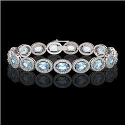 18.38 CTW Aquamarine & Diamond Halo Bracelet 10K White Gold - REF-320W9F - 40625