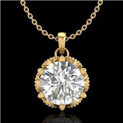 1.36 CTW VS/SI Diamond Solitaire Art Deco Necklace 18K Yellow Gold - REF-361X8T - 37246