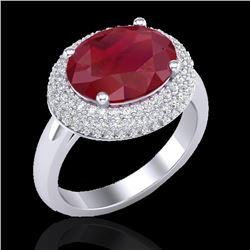 4.50 CTW Ruby & Micro Pave VS/SI Diamond Ring 18K White Gold - REF-119T6M - 20922