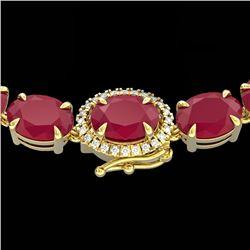 54.25 CTW Ruby & VS/SI Diamond Eternity Tennis Micro Halo Necklace 14K Yellow Gold - REF-290N9Y - 40