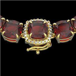 87 CTW Garnet & VS/SI Diamond Halo Micro Pave Necklace 14K Yellow Gold - REF-320T2M - 23348