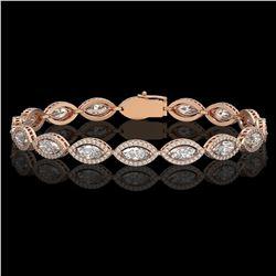 10.61 CTW Marquise Diamond Designer Bracelet 18K Rose Gold - REF-1946W2F - 42654