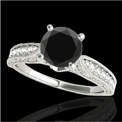 1.21 CTW Certified VS Black Diamond Solitaire Antique Ring 10K White Gold - REF-46W9F - 34723