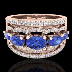 2.25 CTW Tanzanite & Micro Pave VS/SI Diamond Designer Ring 10K Rose Gold - REF-80K2W - 20806
