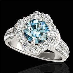 2.81 CTW Si Certified Fancy Blue Diamond Solitaire Halo Ring 10K White Gold - REF-309T3M - 33963