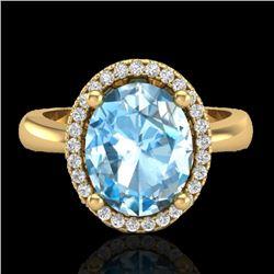 3 CTW Sky Blue Topaz & Micro Pave VS/SI Diamond Ring Halo 18K Yellow Gold - REF-50X9T - 21099