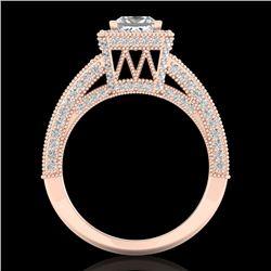 3.5 CTW Princess VS/SI Diamond Solitaire Micro Pave Ring 18K Rose Gold - REF-581W8F - 37167