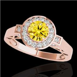 1.75 CTW Certified Si/I Fancy Intense Yellow Diamond Solitaire Halo Ring 10K Rose Gold - REF-223T6M