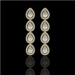 5.22 CTW Pear Diamond Designer Earrings 18K Yellow Gold - REF-969M6H - 42649