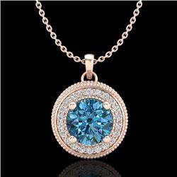 1.25 CTW Fancy Intense Blue Diamond Solitaire Art Deco Necklace 18K Rose Gold - REF-132N8Y - 38021