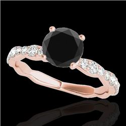1.4 CTW Certified VS Black Diamond Solitaire Ring 10K Rose Gold - REF-56K2W - 34875
