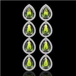 10.48 CTW Tourmaline & Diamond Halo Earrings 10K White Gold - REF-195W6F - 41303
