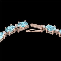 34 CTW Sky Blue Topaz & VS/SI Diamond Tennis Necklace 10K Rose Gold - REF-149N8Y - 21586