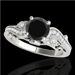 1.25 CTW Certified VS Black Diamond Solitaire Antique Ring 10K White Gold - REF-57F3N - 34795