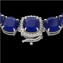 116 CTW Sapphire & VS/SI Diamond Halo Micro Solitaire Necklace 14K White Gold - REF-467M3H - 23344