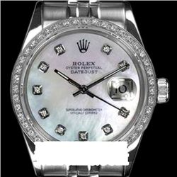 Rolex Men's Stainless Steel, QuickSet, Diamond Dial & Diamond Bezel - REF-557H6W