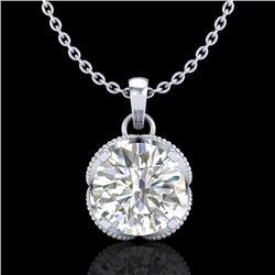 1.13 CTW VS/SI Diamond Solitaire Art Deco Stud Necklace 18K White Gold - REF-217M3H - 36863