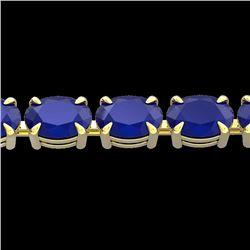 29 CTW Sapphire Eternity Designer Inspired Tennis Bracelet 14K Yellow Gold - REF-137K5W - 23390