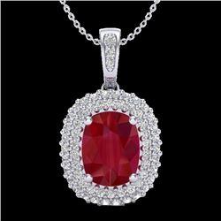 3.15 CTW Ruby & Micro Pave VS/SI Diamond Halo Necklace 18K White Gold - REF-90H9A - 20417