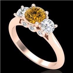 1.5 CTW Intense Fancy Yellow Diamond Art Deco 3 Stone Ring 18K Rose Gold - REF-174W5F - 38268