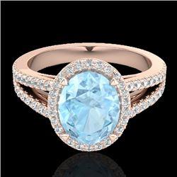 3 CTW Aquamarine & Micro VS/SI Diamond Halo Solitaire Ring 14K Rose Gold - REF-77N8Y - 20929