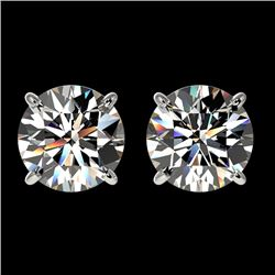 2 CTW Certified H-SI/I Quality Diamond Solitaire Stud Earrings 10K White Gold - REF-285W2F - 33080