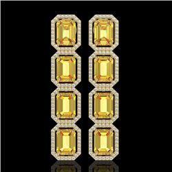 18.64 CTW Fancy Citrine & Diamond Halo Earrings 10K Yellow Gold - REF-184T2M - 41614