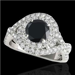 2 CTW Certified VS Black Diamond Solitaire Halo Ring 10K White Gold - REF-98X8T - 33876