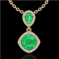 3.50 CTW Emerald & Micro VS/SI Diamond Necklace Designer Halo 10K Yellow Gold - REF-63F6N - 20545